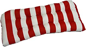 Resort Spa Home Decor Indoor/Outdoor Cushion for Wicker Loveseat Settee - Red White Stripe