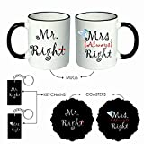 Giftsmate Valentines Anniversary Gifts for Couple, Mr Right Mrs Always Right Couple Coffee Mugs Hamper for Husband Wife Set of 6 with Coasters, Keychains
