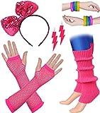 BABEYOND 80s Outfit Costume Accessories Neon Earrings Fishnet Gloves Leg Warmers Headband Bracelets (Set 7)