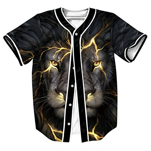 HOP FASHION Youth Unisex Boy Girl Baseball Jersey Short Sleeve 3D Lion Face Print Dance Team Uniform Tops Tees HOPM007-36-S - Gold 3d Baseball
