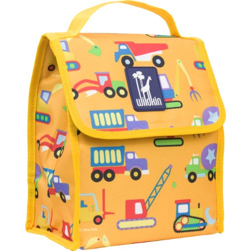 Lunch Bag, Olive Kids by Wildkin Lunch Bag, Insulated, Moisture Resistant, Easy to Clean & Folds Flat Making Storage That Much Easier, Ages 3+, Perfect for Kids & On-The-Go Parents, Under Construction