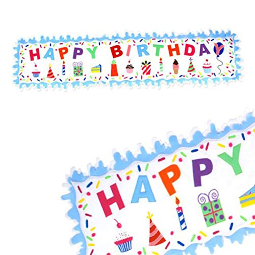 Glitterville HUGE Happy Birthday 73 Inch Felt Table Runner or Wall Banner, with Cupcakes and Presents ()