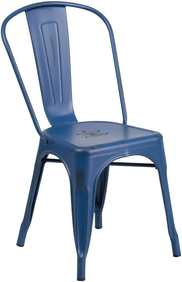 Flash Furniture Commercial Grade Distressed Antique Blue Metal Indoor-Outdoor Stackable Chair