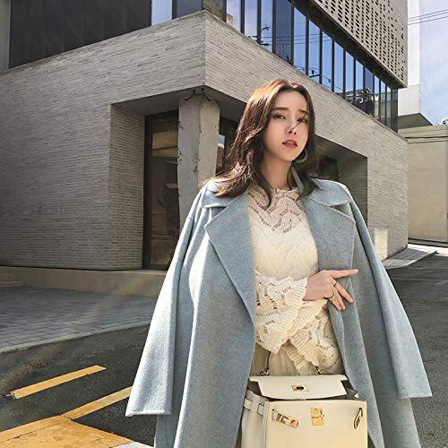 Cara Estilo Las De Lana Sobre Hepburn Rodillas Alumnas Doble Larga Sección B Atr Otoño Abrigo p7wS8S