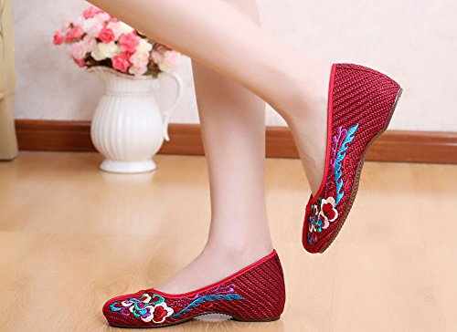 AvaCostume Womens Embroidery Pattern Weave Casual Loafer Shoes Red rwaABK