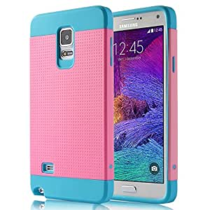 Galaxy Note 4 Case,ULAK Galaxy Note 4 Case Hybrid Dual Layer TPU + PC Rugged Impact Protective Case For Samsung Galaxy Note 4 + Screen Protector & Stylus (Light Blue/Pink)