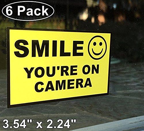 "Outdoor/Indoor (6 Pack) 3.54"" wide X 2.24"" high Home Business SMILE YOU'RE ON CAMERA Yellow Window Door Warning Security Alert Sticker Decals **Back Self Adhesive Vinyl**"