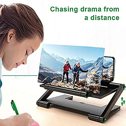 Mtianxy Amplificador de Pantalla para teléfono móvil de Alta definición con Soporte de Escritorio Plegable con Lupa para teléfono móvil