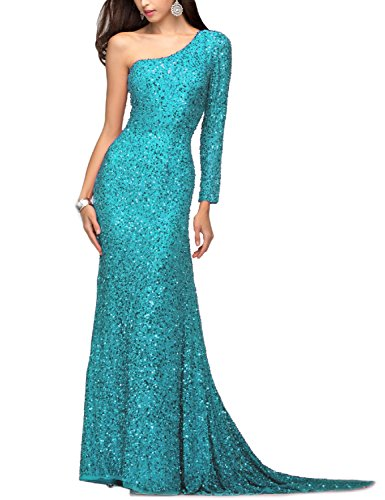 BEAUTBRIDE Women's One Shoulder Sequin Mermaid Evening Dress Long Sleeve Formal Turquoise 20W
