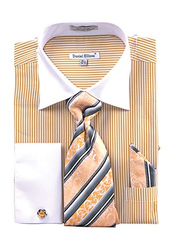 Men's Stripe Two Tone French Cuff Shirt Cufflinks - Mustard 20.5 36-37 (Tone Cuff Mens Two French Shirts)