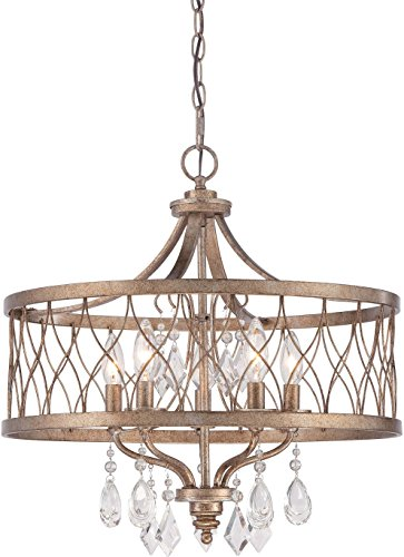 - Minka Lavery 4404-581 West Liberty Dining Room Crystal Chandelier Pendant Lighting, 5 Light, 300 Watts, Olympus Gold