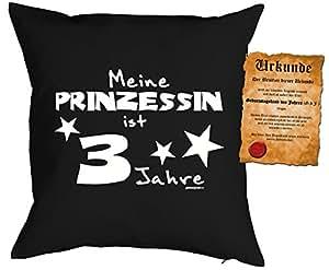 Kaiserstuhlshop beeeeestial Día almohada con certificado para la Pequeña Diva: Mi Princesa es 3años