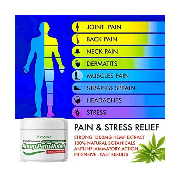 Puraganic Hemp Pain Relief Cream 1500mg – Natural Pain Relief Made from Hemp, Arnica, MSM, Turmeric to Relief Muscles & Joints Tension, Fast Acting & Quick Absorption Hemp Cream (60ml)