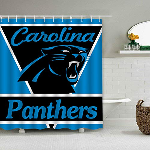 - Sorcerer Custom Colourful Carolina Panthers American Tootball Team Shower Curtain Polyester Waterproof Proof for Bathroom Decoration Set with Hooks 66x72 Inches