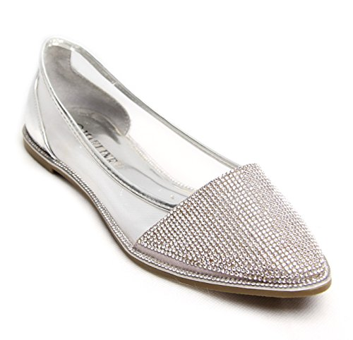 et Femme Point Ballets taille strass chaussures diamants ballerine plats a45w4S