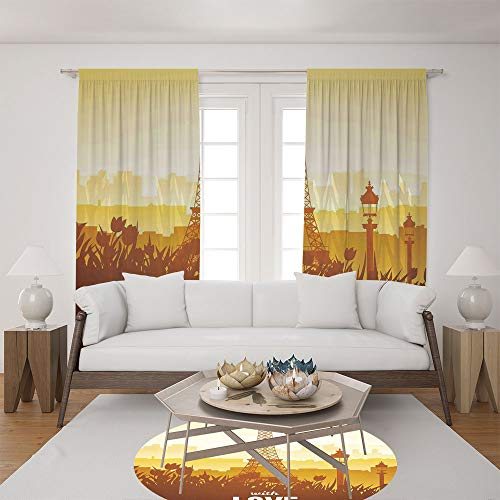 2 Panel Set Satin Window Drapes Living Room Curtains and Round Rug 35.4 inches,Tulip and City Silhouette Nostalgic Town Floral,The perfect combination of curtains and Round Rug makes your living (Pittsburgh Steelers Window Drape)