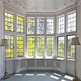 AOFOTO 5x5ft Classic French Pane Bay Windows Backdrop Luxury Retro Interior Decoration Floor Lamps Photography Background New Life Furniture Home Lifestyle Estate Modern Residence Photo Studio Props
