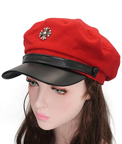 Roffatide Woman Cross Emblem Costume Cadet Cap Cosplay Beret Hat Fancy Dress Red -