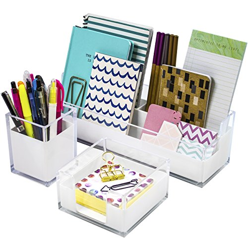 Sorbus Acrylic Desk Organizers Set – 3-Piece, Includes Desk Organizer Caddy, Memo Tray and Pen Cup, Modern Desk Accessories Organizer Great for Home or Office, White Clear (Desk Organizer Set) by Sorbus
