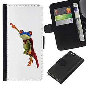 WINCASE Cuadro Funda Voltear Cuero Ranura Tarjetas TPU Carcasas Protectora Cover Case Para Apple Iphone 5C - rana héroe volando blanco minimalista