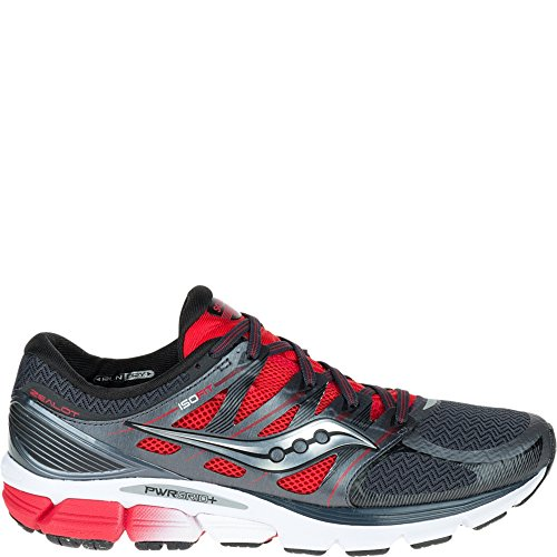Saucony Men's Zealot ISO Road Running Shoe, Red/Black/Silver, 10 M US