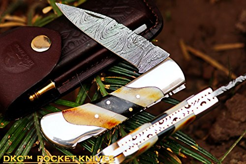 DKC Knives DKC-60x Sale Silver Scotch Damascus Folding Pocket Knife 4.2″ Folded 7.5″ Long 6.9oz oz High Class Looks Incredible Feels Great in Your Hand and Pocket Hand Made For Sale