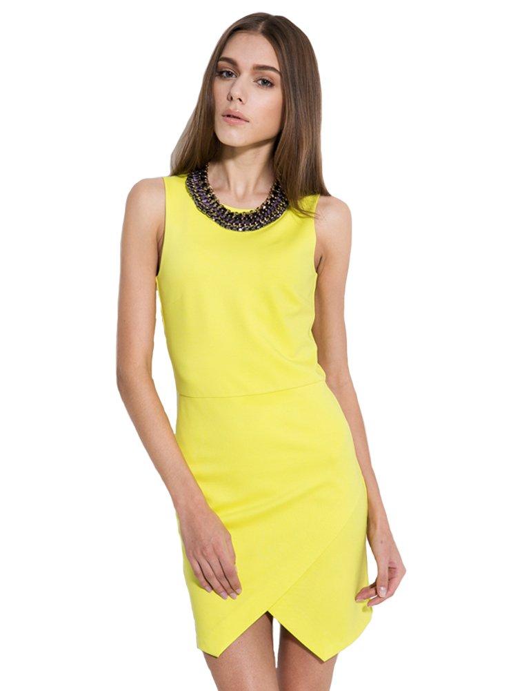 Camii Mia Women's Sleeveless Slim Fit Wear to Work One Piece Business Dress (Small, Yellow)