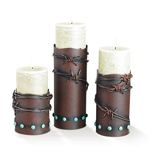 (Western Barbwire Candle Holder Set of 3)