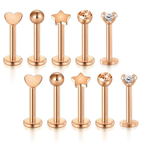 vcmart 10pcs 16g 316L Stainless Steel 3mm Cubic Zirconia Labret Monroe Lip Ring Cartilage Tragus Helix Earring 8mm Rose Gold Bar Length by vcmart (Image #2)'