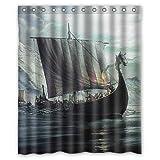 "Vintage Viking Dragon Head Ship Background Waterproof Shower Curtain/Bath Curtain--Size: 60"" x 72"""