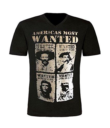 Americas Wanted T-Shirt mit V-Ausschnitt