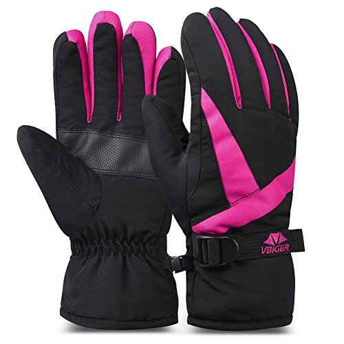 Vbiger Ski Gloves Snow Mittens Waterproof Winter Warm Cycling Gloves (M, Rosy Red)
