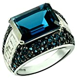 14.59 Cts Fine Grade London Blue Topaz Rhodium-Plated 925 Sterling Silver Statement Ring (8)
