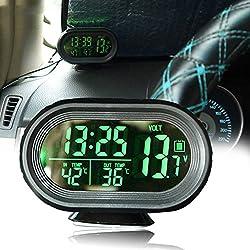 Vinmax Multi-functional Car Auto LCD LED Display Digital Clock Alarm Thermometer Temperature Voltage Meter Gauge Monitor DC12V-24V