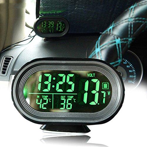 Vinmax Multi-Functional Car Digital Clock Alarm Thermometer Voltmeter LCD LED Auto Temperature Gauge Monitor DC 12V-24V