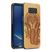 Galaxy S8 Wood Case,YFWOOD Real Natural Wood Engraving Elephant Unique Real Wooden Phone Cover Slim Covering Case for Samsung Galaxy S8