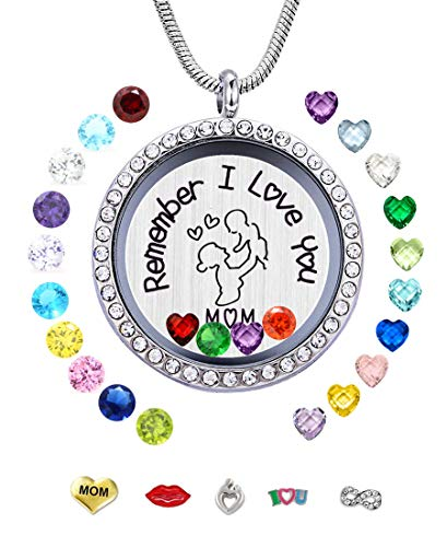 JOLIN Remember I Love You Mom Floating Lockets Pendant Necklace with Charms & Birthstones for Mother Mammy Mama, Mother's Day Birthday Xmas Gift ()
