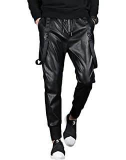 CRYYU Men Ripped Holes Pencil Straight Fit Frayed Stretchy Pleated Denim Pants