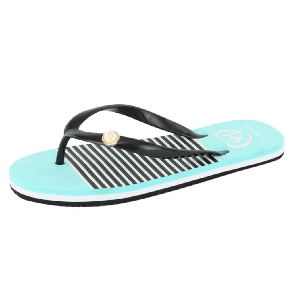 Inkach Fashion Womens Flip-Flops Summer Sandals Beach Slip-on Slippers Loafers Flat Shoes (39(US:7), Green)