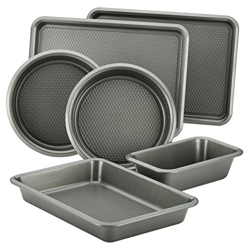 Ayesha Curry 47191 Nonstick Bakeware Set with Nonstick Bread Pan, Cookie Sheet, Baking Pan, Baking Sheet and Cake Pans – 6 Piece, SIlver