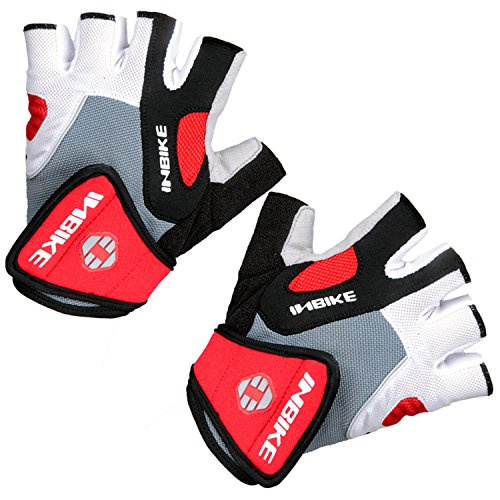 Inbike 5mm Gel Pad Half Finger Cycling Gloves (Red, (Specialized Clothes Bike)