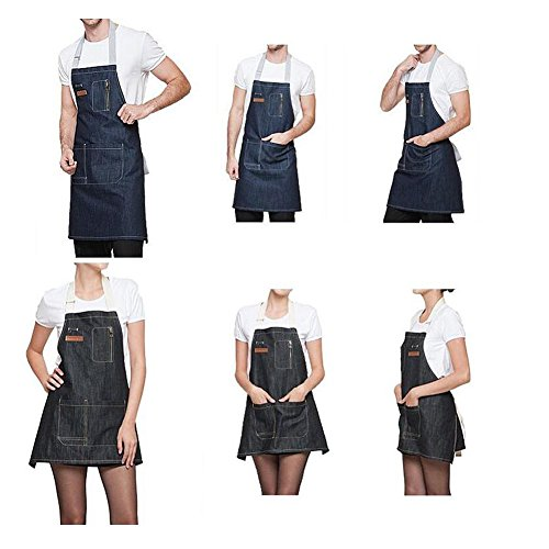AINOLWAY Stylish Denim Apron with Pockets Korean Style Jean Apron for Man Kitchen Cooking 24.4''L X 23.6''W BLACK by AINOLWAY (Image #6)