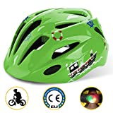 Shinmax Kids Cycle Helmet with LED light, CE Certified, Adjustable Children's Helmet for 5-13 Years Old Boys/Girls Cycling
