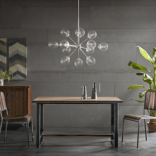 Ink Ivy 12 Lights Oversized Bulb Sputnik Chandelier Silver Finish Modern Dining Room Pendant Lighting Ul Certified