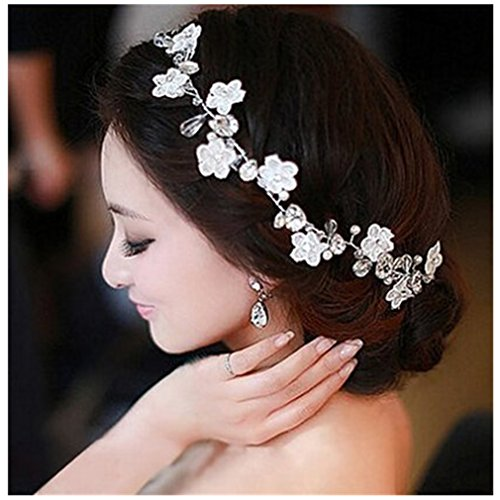 Crystal Diamond Bride Bridal Wedding Hair Head Band Wear Pearl Rhinestone Jewelry Headdress Headband Tiara Coronal Chain