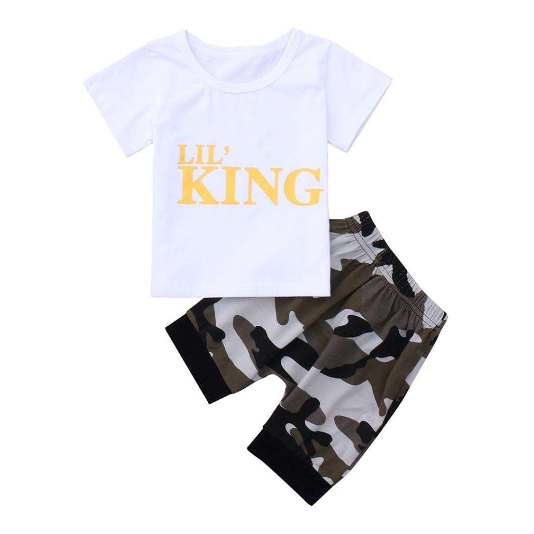 Tops Shorts Outfits Set Sagton Toddler Kids Baby Boys Letter T shirt Tops+Camouflage Shorts Outfits Clothes Set (3-4Y)