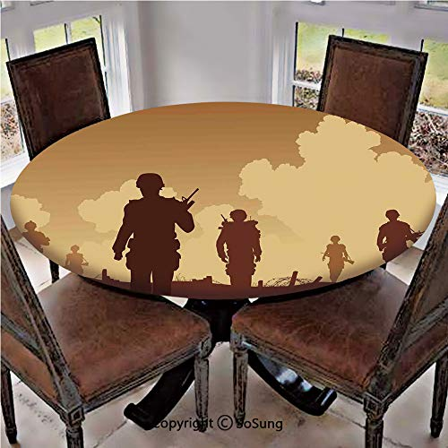 Elastic Edged Polyester Fitted Table Cover,Soldier Shadows with
