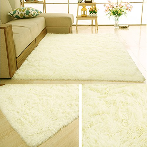 PAGISOFE Soft Baby Nursery decorative rugs Girls Boys Bedroom Carpet 4' x 5.3',Cream (Nursery For Rug White)