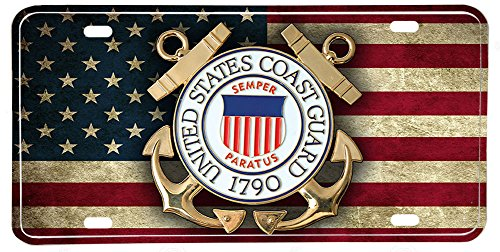 BrotherhoodProducts Distressed American Flag US Coast Guard Emblem License ()