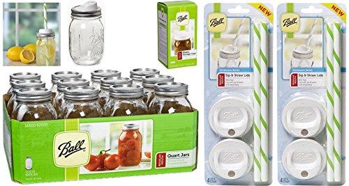 Jar Drinking Glasses Bundle = Ball Regular Mouth Pint Jars with Lids and Bands, Set of 12 + 8 Mason Sip and Straw Lids + Plastic Jar Storage Caps Set (Custom Plastic Mason Jars)